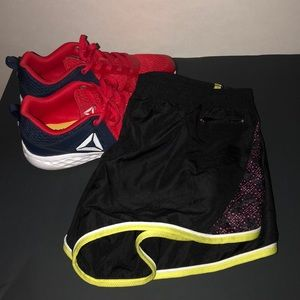 NWT Black Soffe running shorts with pink lining L